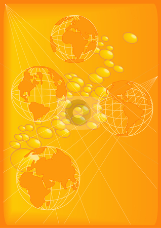 Wire Globes and Beads in Gold stock vector clipart, Vector Illustration of planet Earth in four profiles. Over a gold background with golden beads. by Robert Gebbie