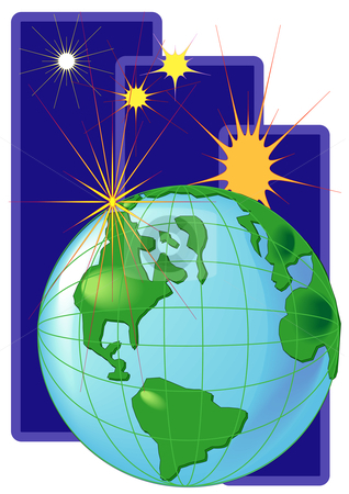 World and Star stock vector clipart, Vector Illustration of planet Earth with bright stars all around. by Robert Gebbie