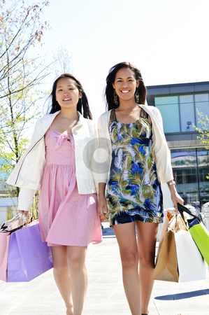 Young girlfriends shopping stock photo, Two young girl friends holding shopping bags at mall by Elena Elisseeva