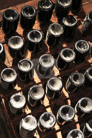 Wine bottles stock photo, Upside down wine bottles maturing in wooden racks by Elena Elisseeva