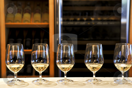Wine tasting glasses stock photo, Row of white wine glasses in winery tasting event by Elena Elisseeva