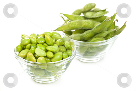 Soy beans stock photo, Edamame soy beans shelled and with pods in bowls by Elena Elisseeva