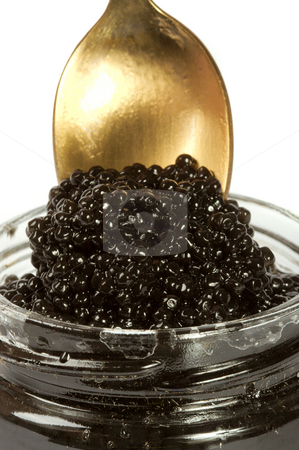 Caviar black stock photo, Bank with black caviar on a white background. by Sergey Goruppa