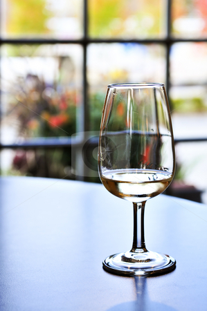 Wine tasting glass stock photo, White wine glass in winery tasting event by Elena Elisseeva
