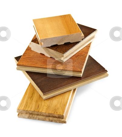 Pre-finished hardwood floor samples stock photo, Isolated stacked prefinished hardwood flooring samples by Elena Elisseeva