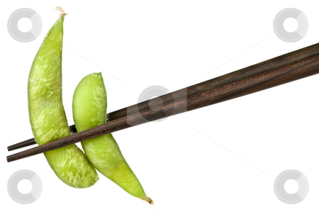 Soy beans with chopsticks stock photo, Edamame soy bean pods held by chopsticks by Elena Elisseeva