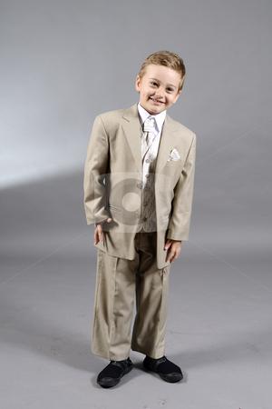 School boy stock photo, Portrait of school boy in elegant costume by Dragos Iliescu
