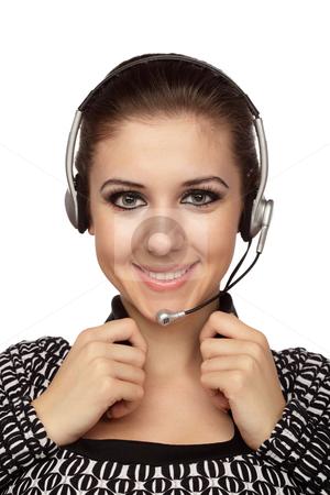 Cheerful customer service operator stock photo, Cheerful customer service operator with headset over white. by Ivelin Radkov