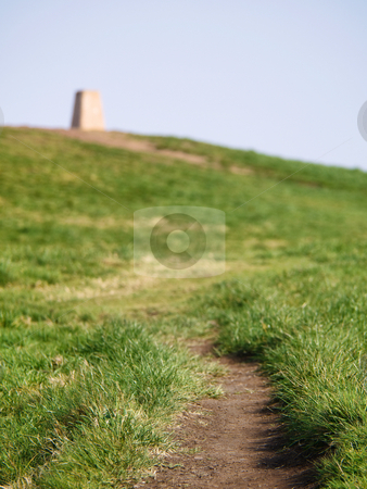 Going to the top stock photo, Trail on the hill  toward landmark by Laurent Dambies