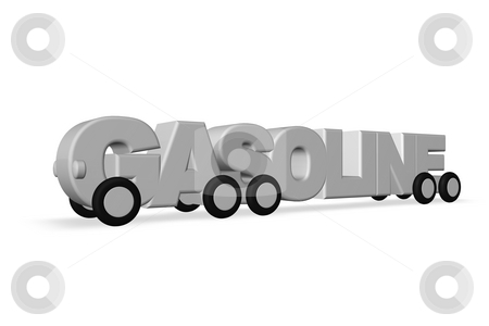 Gasoline stock photo, The word gasoline on wheels on white background - 3d illustration by J?