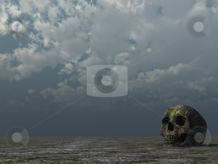 Rotten stock photo, Rotten skull in desert and cloudy sky - 3d illustration by J?