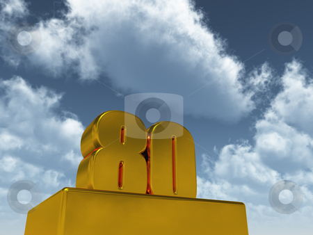 Eighty stock photo, The number eighty - 80 -  in front of blue sky - 3d illustration by J?