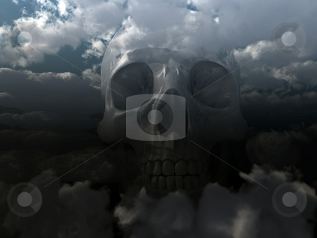 Skull stock photo, Skull in cloudy sky - 3d illustration by J?