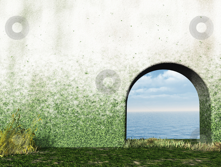 Gate stock photo, Gate in wall to the ocean - 3d illustration by J?