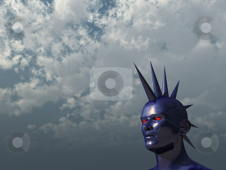 Mohawk stock photo, Blue human mohawk head in front of cloudy sky - 3d illustration by J?