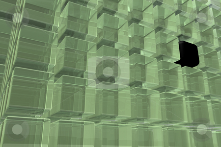 Cubes stock photo, Building of glass cubes - background - 3d illustration by J?