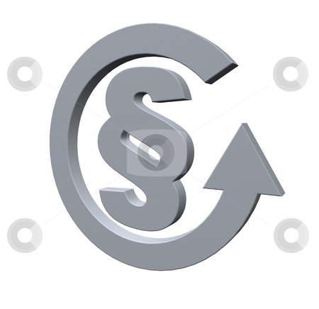 Law stock photo, Paragraph symbol and cycle pointer - 3d illustration by J?