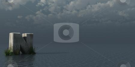 Letter N stock photo, Letter N rock in water landscape - 3d illustration by J?