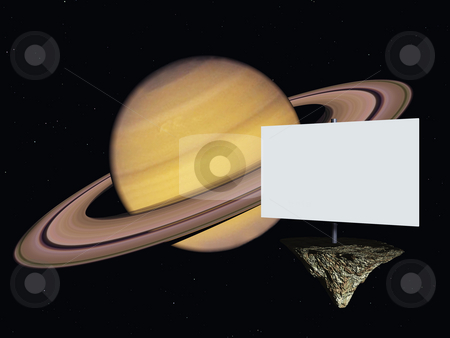 Saturn stock photo, Blank white sign in space and the planet saturn - 3d illustration by J?