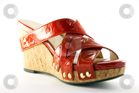 Red Shoe stock photo, Single platform heel red shoe with clipping path on a white background by Keith Wilson