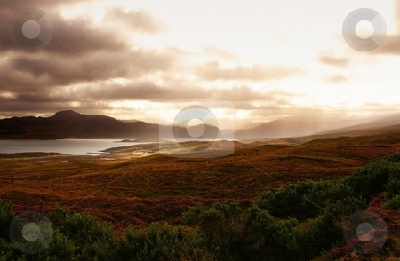 Magic scotland stock photo, Magic scotland sunset over some hills and ocean by Karin Claus