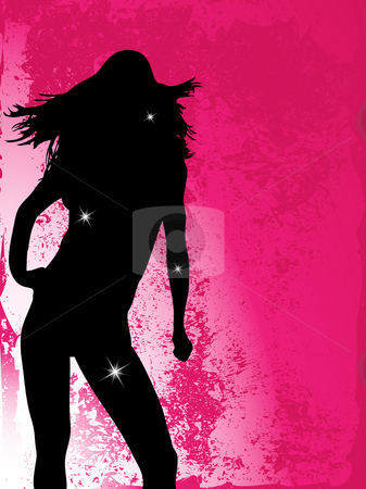 Girl Fashion stock vector clipart, Grunge Background with Party Girl Silhouette with Stars by AUGUSTO CABRAL