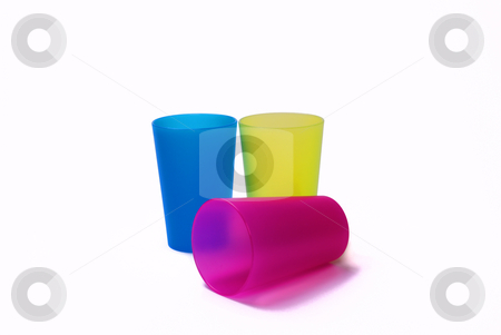 Color toothbrush holders on the white background stock photo, Color toothbrush holders on the white background by Roman Kalashnikov