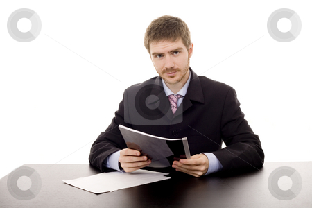 Man on a desk stock photo, Young man on a desk white isolate by Marc Torrell