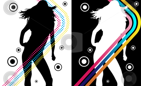 Disco Stripes Girl stock vector clipart, Music Funky Retro Girl Silhouette with Stripes by Augusto Cabral Graphiste Rennes