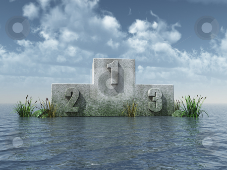 Winner stock photo, Winner podium at the ocean in front of blue sky - 3d illustration by J?