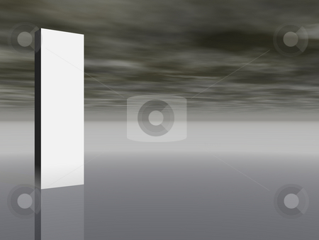 Banner stock photo, Blank white column in front of dark sky - 3d illustration by J?