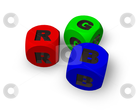 Rgb dices stock photo, Three dices in rgb on white background - 3d illustration by J?