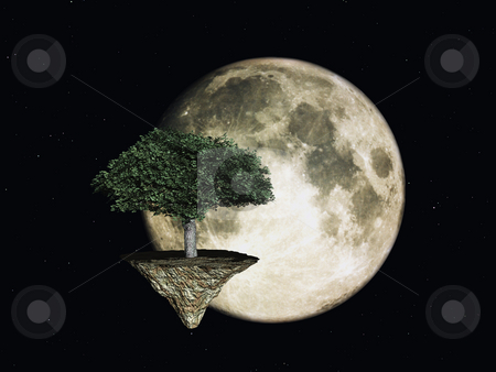 Space tree stock photo, Tree and moon in space - 3d illustration by J?