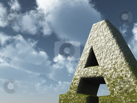 Big a stock photo, Letter a rock in front of blue sky - 3d illustration by J?