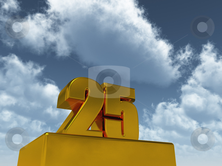 Twenty five stock photo, Golden twenty five - 25 - in front of cloudy sky - 3d illustration by J?