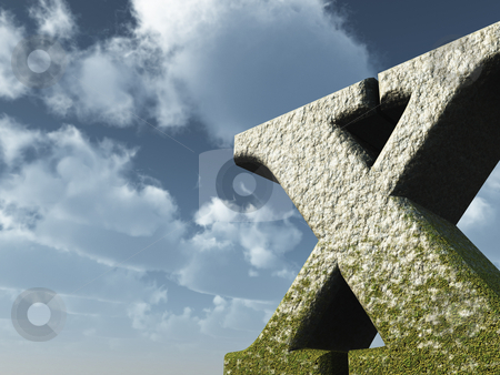 Big x stock photo, Letter X rock in front of blue sky - 3d illustration by J?