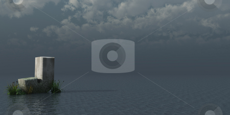 Letter J stock photo, Letter J rock in water landscape - 3d illustration by J?