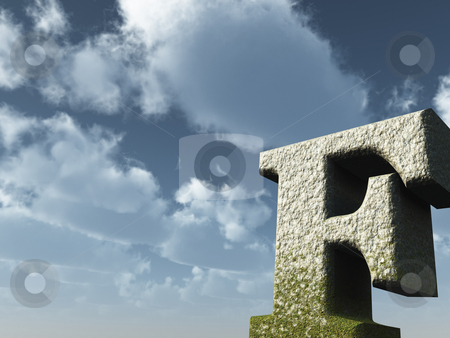 Letter F stock photo, Letter f rock in front of blue sky - 3d illustration by J?