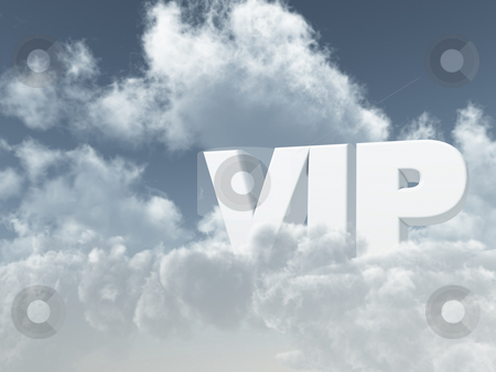 Vip stock photo, The letters vip in cloudy sky - 3d illustration by J?