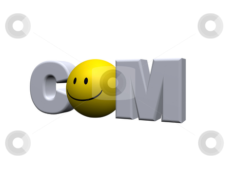 Com domain stock photo, Com domain with smiley instead the o - 3d illustration by J?