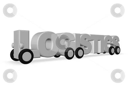 Logistics stock photo, The word logistics on wheels on white background - 3d illustration by J?