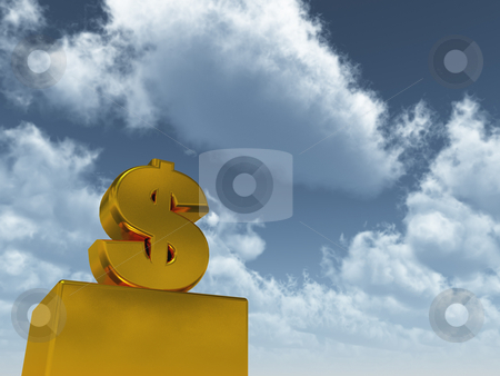 Dollar stock photo, Golden dollar sign in front of blue sky - 3d illustration by J?