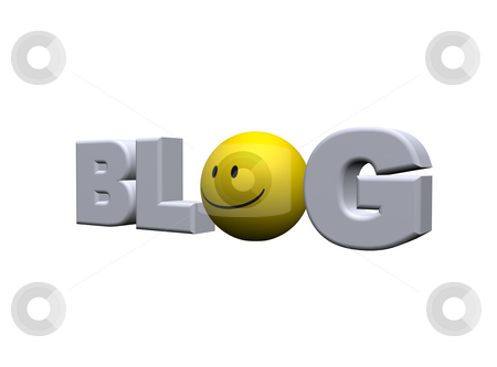 Smiley blog stock photo, The word blog and smiley - 3d illustration by J?