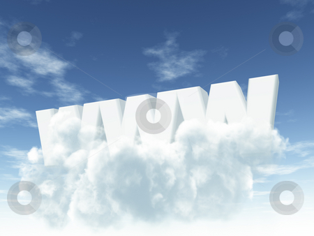 Www stock photo, The letters www on cloudy sky - 3d illustration by J?
