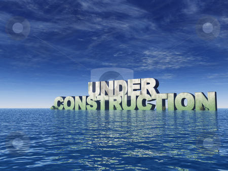 Under construction stock photo, Under construction in stone at the ocean - 3d illustration by J?