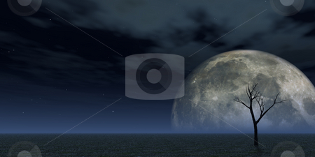 Luna stock photo, Lonely dead tree and the moon - 3d illustration by J?