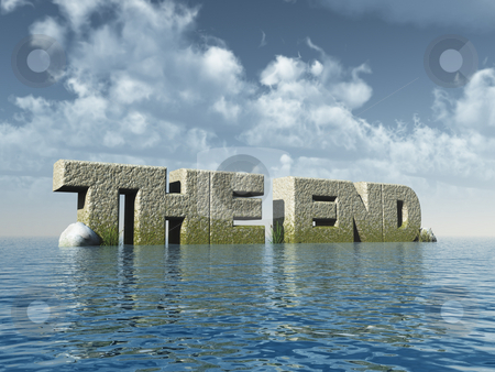 The end stock photo, The words the end at the ocean - 3d illustration by J?