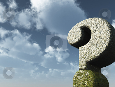 Question mark stock photo, Question mark rock in front of blue sky - 3d illustration by J?