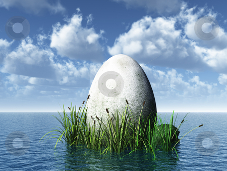 Stone egg stock photo, Big stone egg at the ocean - 3d illustration by J?