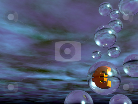 Euro stock photo, Bubbles and euro sign in front of abstract background - 3d illustration by J?